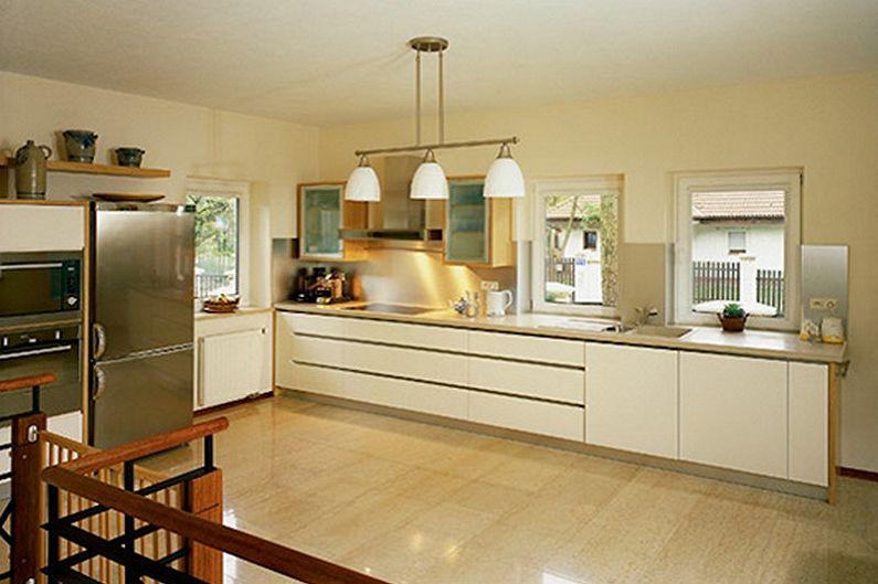 Дизайн кухни в бежевых тонах - Отделка пола