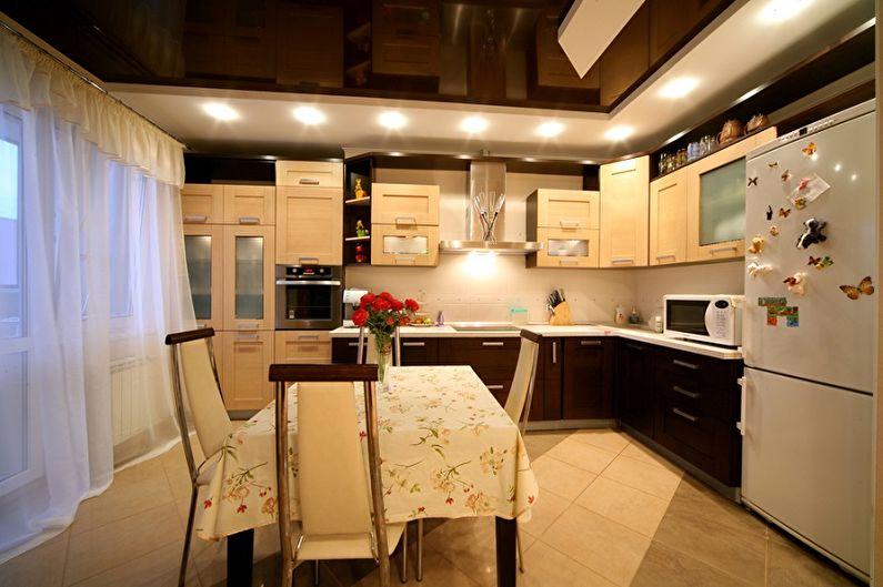 Дизайн кухни в бежевых тонах - Отделка потолка