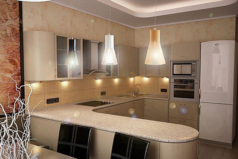 Дизайн бежевой кухни - Освещение
