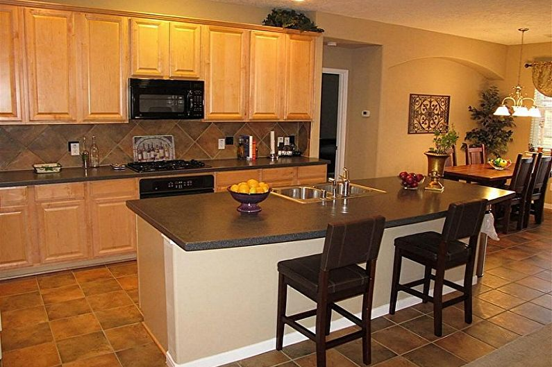 Bej mutfak - iç tasarım fotoğrafı