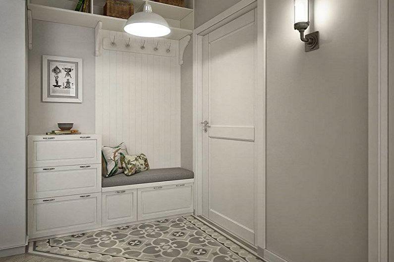 Серая прихожая в скандинавском стиле - Дизайн интерьера