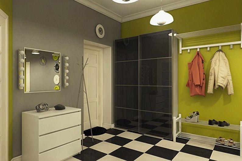 Оливковая прихожая в скандинавском стиле - Дизайн интерьера