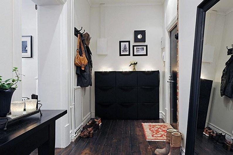 Черная прихожая в скандинавском стиле - Дизайн интерьера