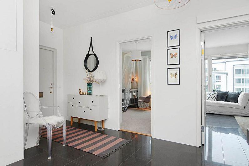 Дизайн прихожей в скандинавском стиле - Отделка стен