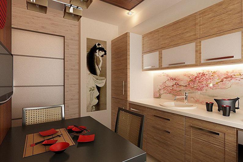 Бежевая кухня в восточном стиле - Дизайн интерьера