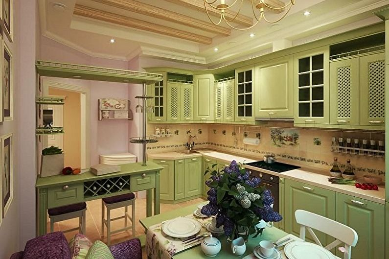 Оливковая кухня в восточном стиле - Дизайн интерьера