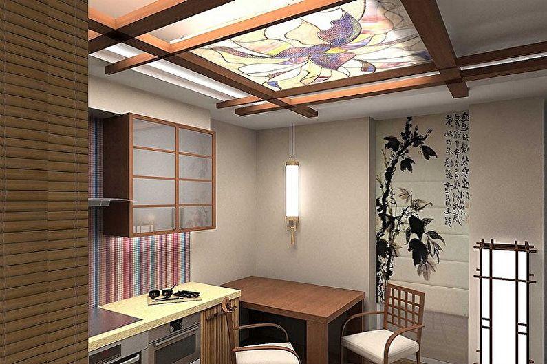 Дизайн кухни в восточном стиле - Отделка потолка