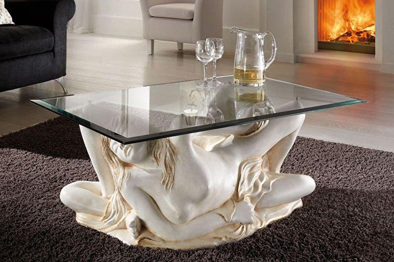 Виды стеклянных журнальных столиков - В зависимости от конструкции
