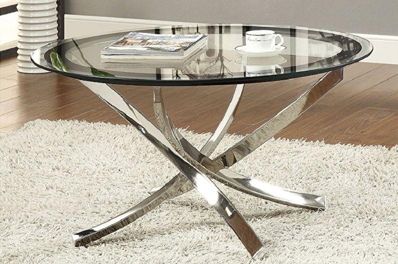 Виды стеклянных журнальных столиков - В зависимости от количества и типа ножек