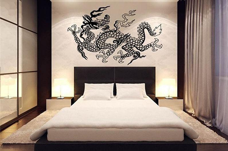 Черно-белая спальня в японском стиле - Дизайн интерьера