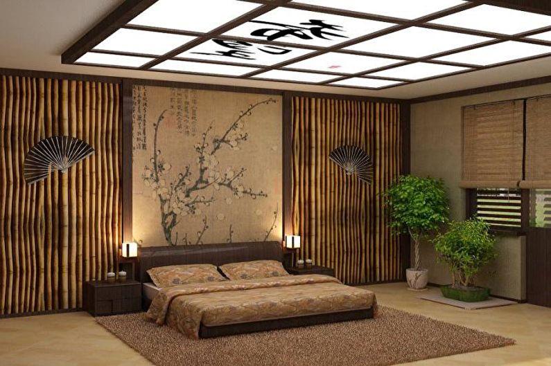 Бежевая спальня в японском стиле - Дизайн интерьера