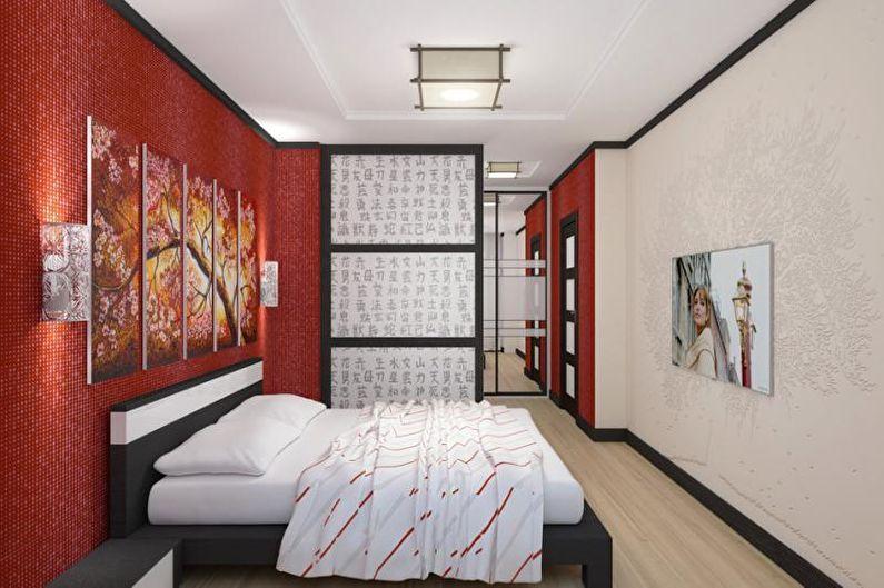Красная спальня в японском стиле - Дизайн интерьера