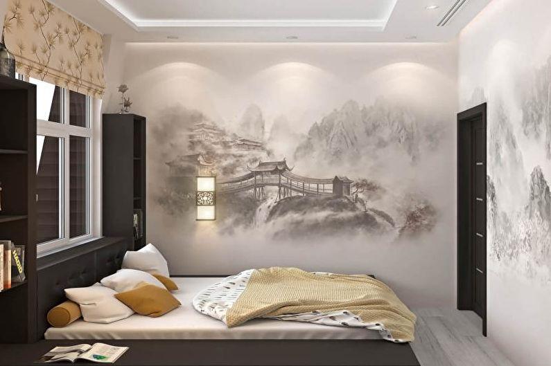 Дизайн спальни в японском стиле - Отделка стен