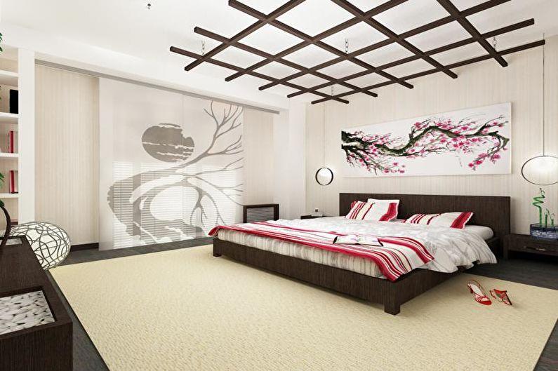 Дизайн спальни в японском стиле - Отделка потолка