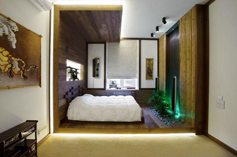 Дизайн спальни в японском стиле - Декор и освещение