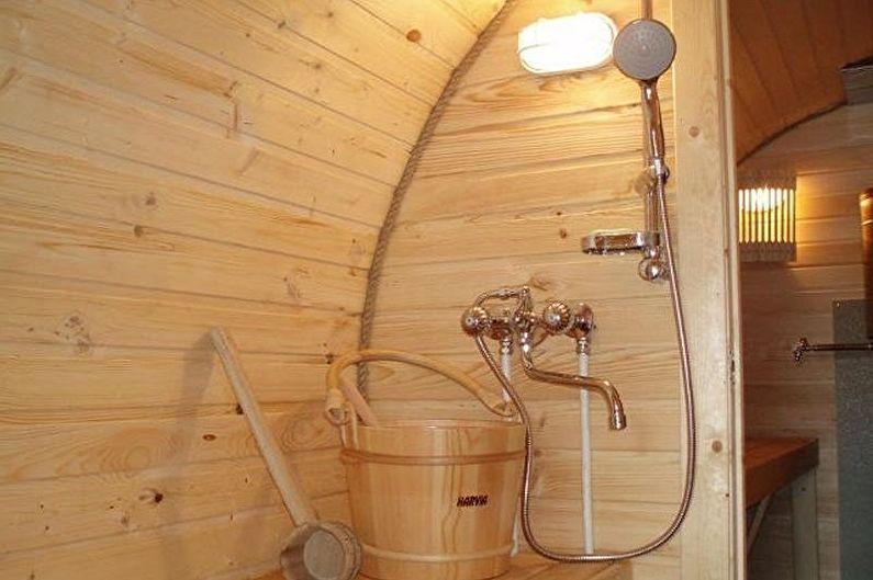 Этапы сборки бани-бочки своими руками - Водоснабжение и слив