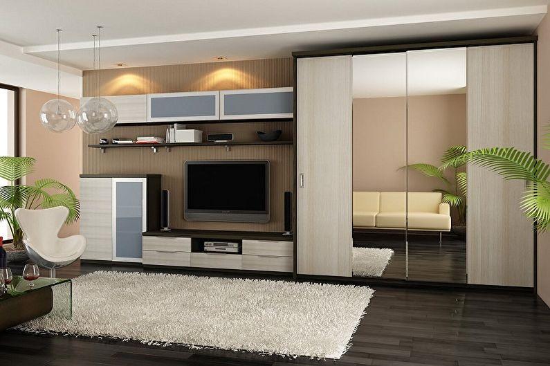 Платяной шкаф в интерьере гостиной