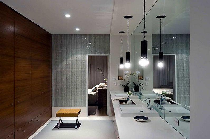 Идеи оформления пластиковых панелей для ванной комнаты - Декор из стекла и металла