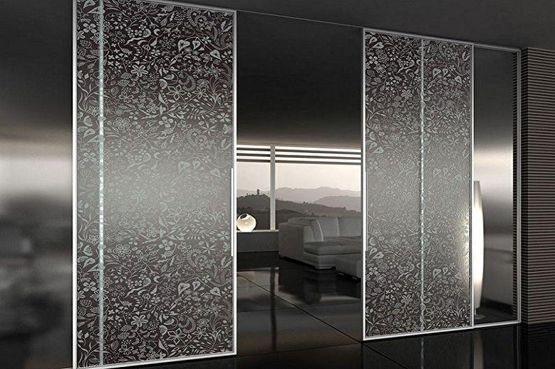 Дизайн стеклянных межкомнатных дверей - Стеклянные двери с пескоструйной обработкой