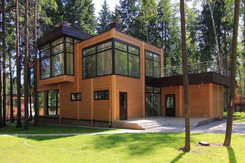 Современные дома из бруса с плоской крышей