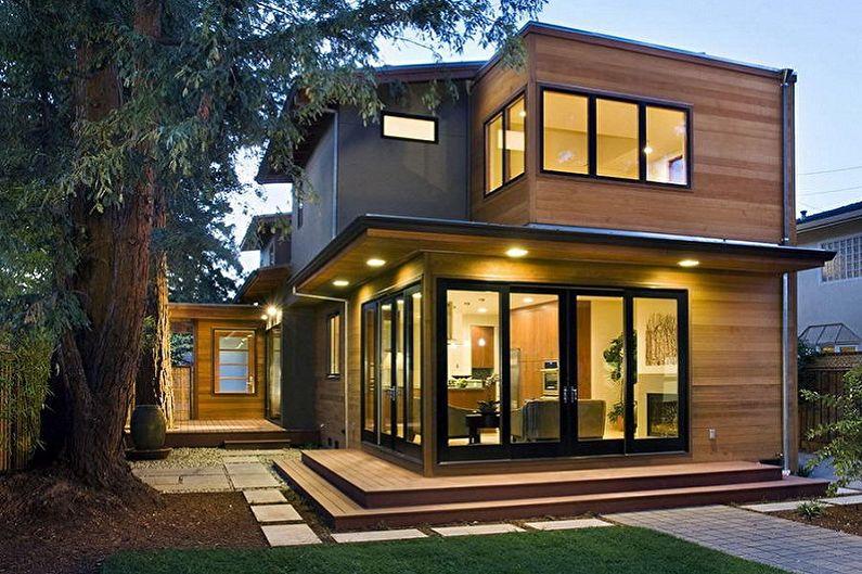 Дом из бруса с панорамными окнами