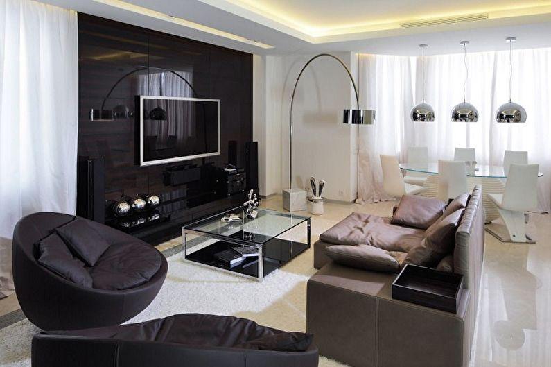 Гостиная в стиле хай-тек: 75 фото, идеи дизайна интерьеров