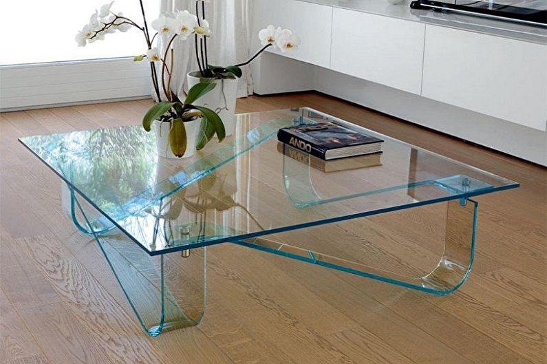 Стеклянный журнальный столик (75 фото)