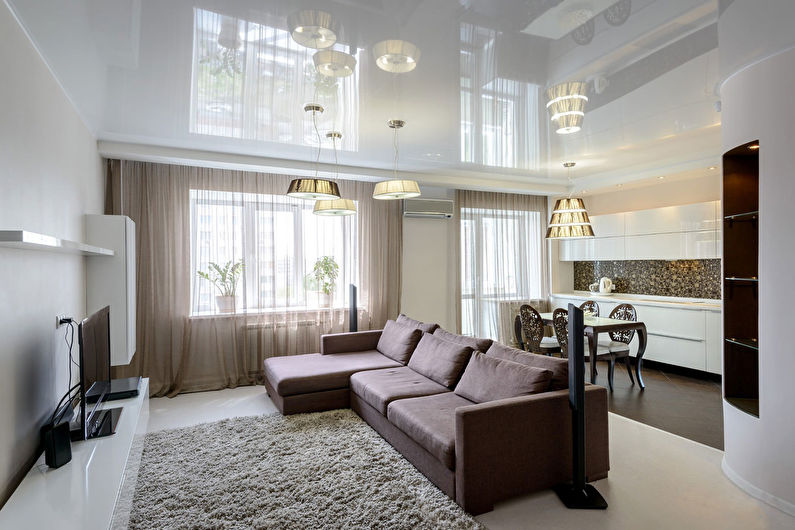 Натяжной потолок в гостиной: 60 фото, идеи дизайна потолков