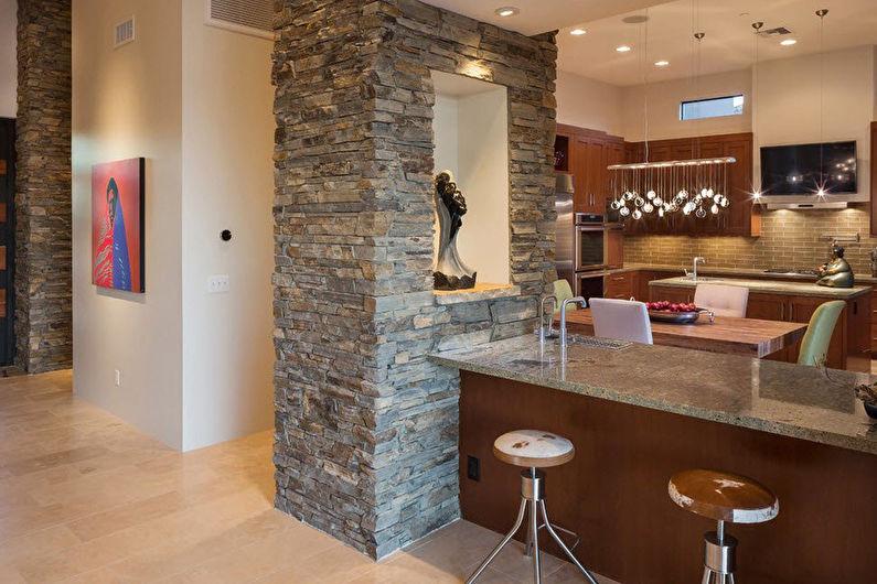 Натуральный декоративный камень на кухне
