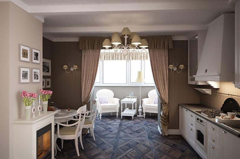 Совмещение балкона и кухни - Дизайн интерьера