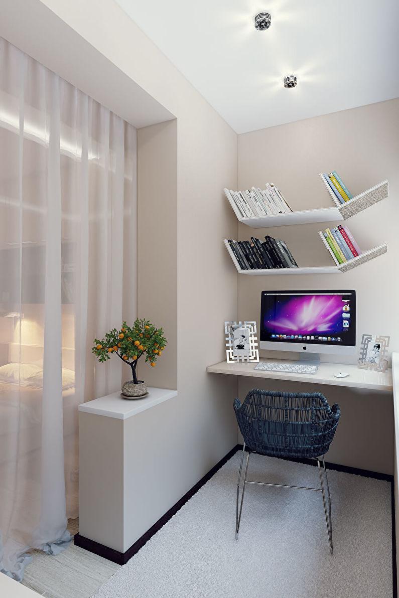 Рабочее место на балконе - Дизайн интерьера
