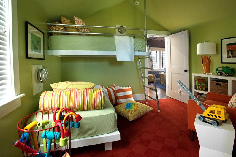 Зеленая детская комната - Дизайн интерьера