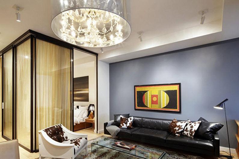 Зонирование спальни-гостиной - Раздвижные перегородки