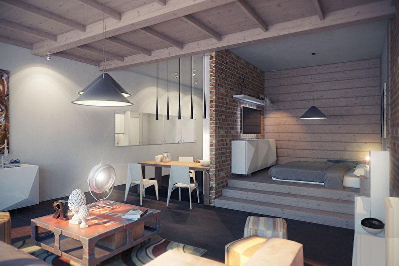 Спальня-гостиная в стиле лофт - Дизайн интерьера