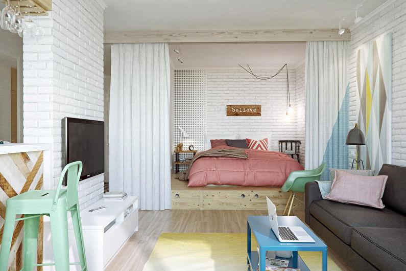Спальня-гостиная в скандинавском стиле - Дизайн интерьера