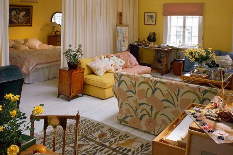 Дизайн спальни-гостиной - Монохромная палитра