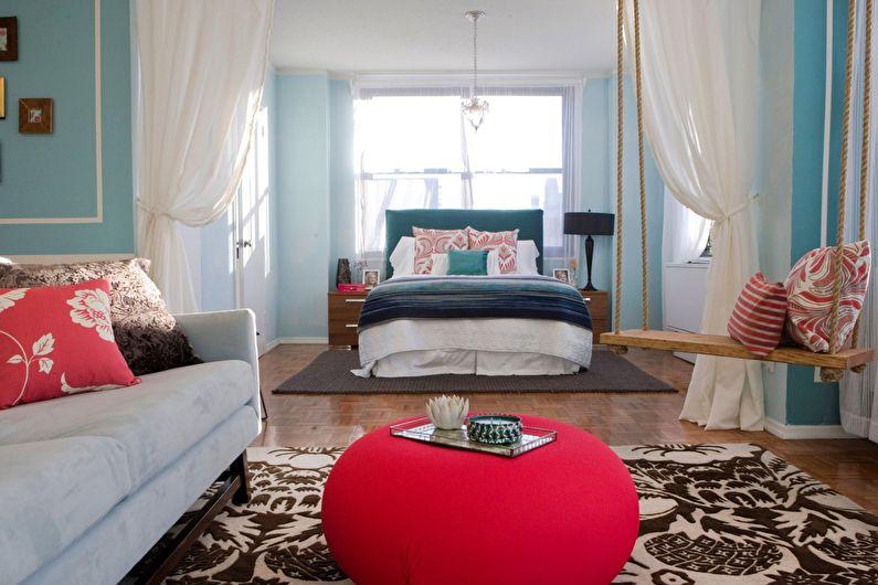 Дизайн спальни-гостиной - Контрастная палитра