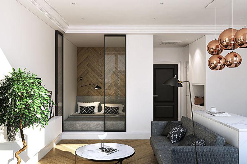 Дизайн спальни-гостиной - Нейтральные оттенки