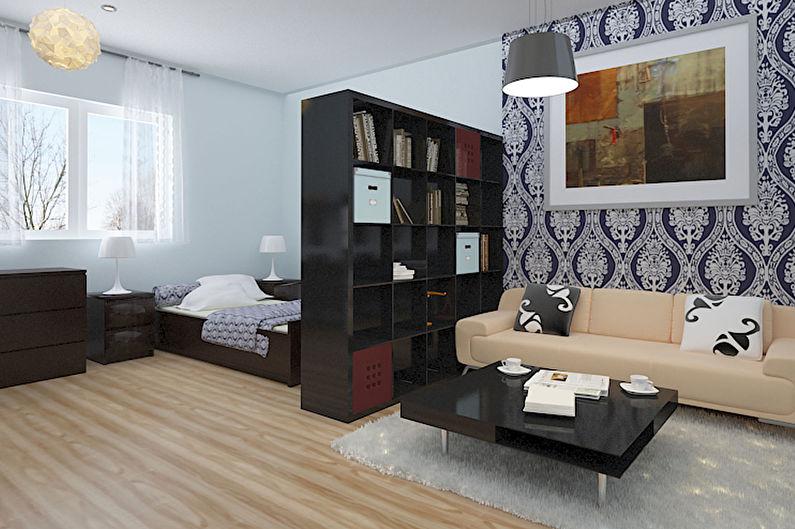 Дизайн спальни-гостиной - Отделка стен