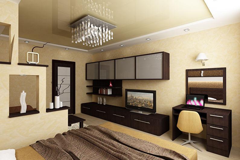 Дизайн спальни-гостиной - Отделка потолка