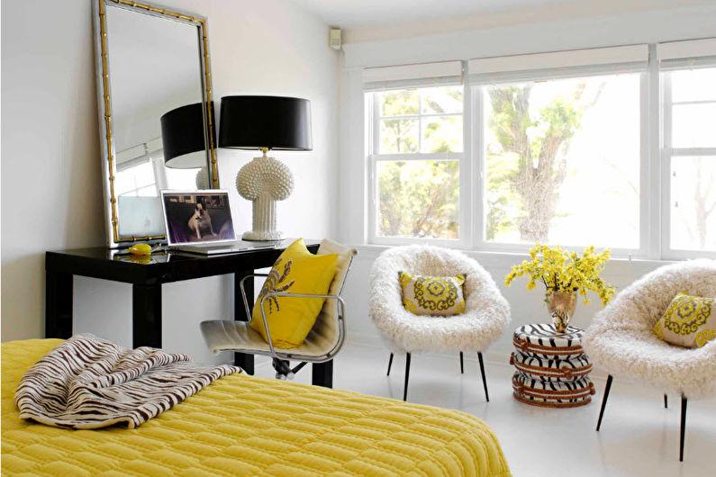 Дизайн спальни-гостиной - Декор и освещение