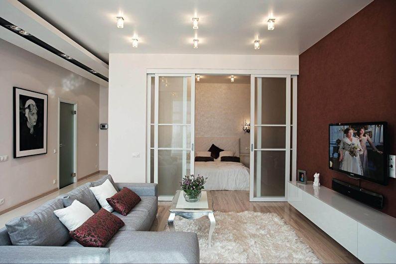 Дизайн интерьера гостиной, совмещенной со спальней - фото