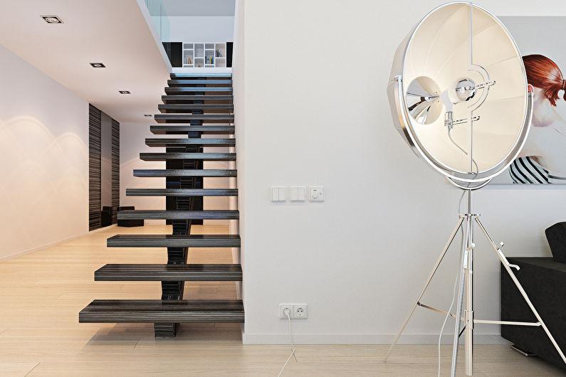Лестницы на второй этаж в стиле минимализм