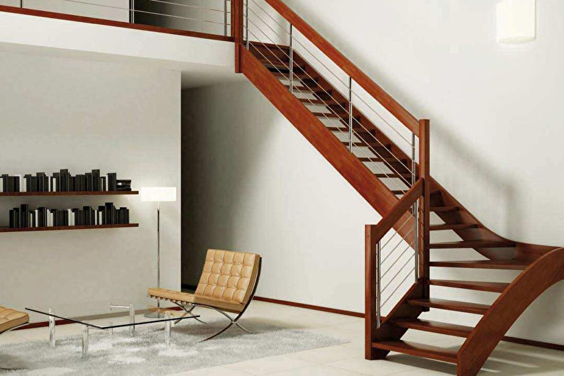 Дизайн лестницы на второй этаж - фото