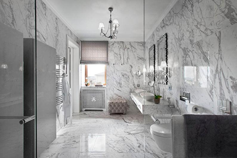 Серая ванная в классическом стиле - Дизайн интерьера
