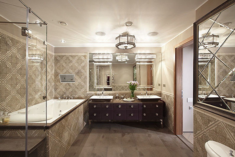 Ванная комната в классическом стиле - Отделка потолка