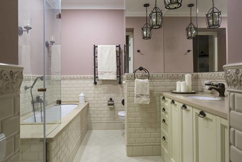 Дизайн интерьера ванной комнаты в классическом стиле - фото