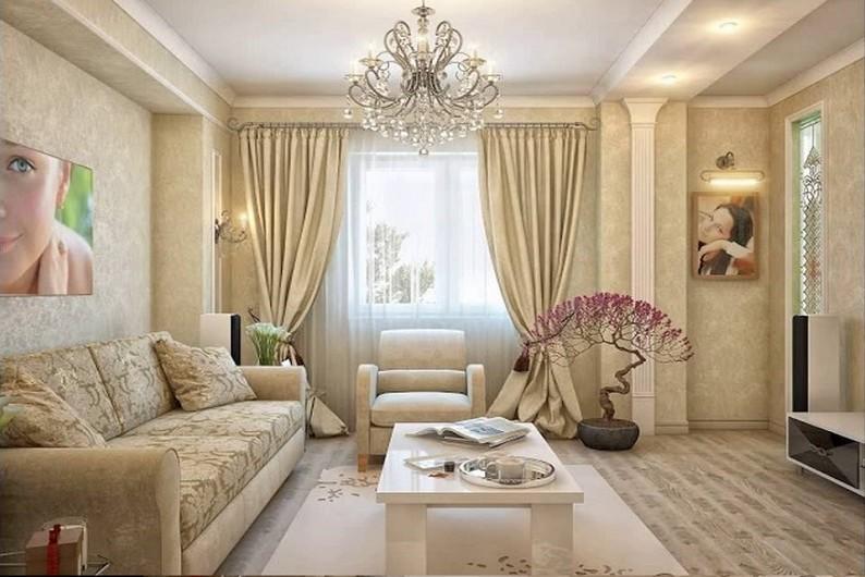 Гостиная 16 кв.м. в классическом стиле - Дизайн интерьера