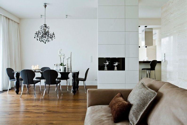 Белая гостиная 16 кв.м. - Дизайн интерьера