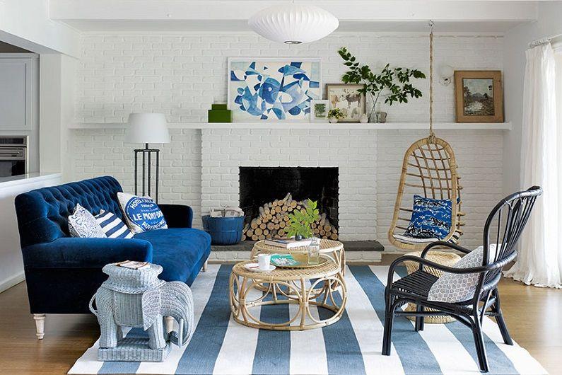 Синяя гостиная 16 кв.м. - Дизайн интерьера
